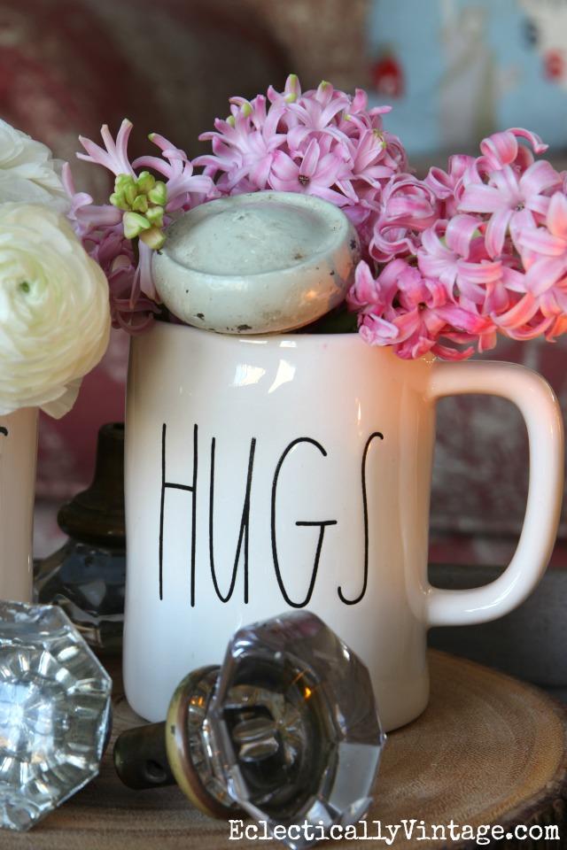 Cut hyacinths for a fun spring arrangement - love the Hugs mug kellyelko.com