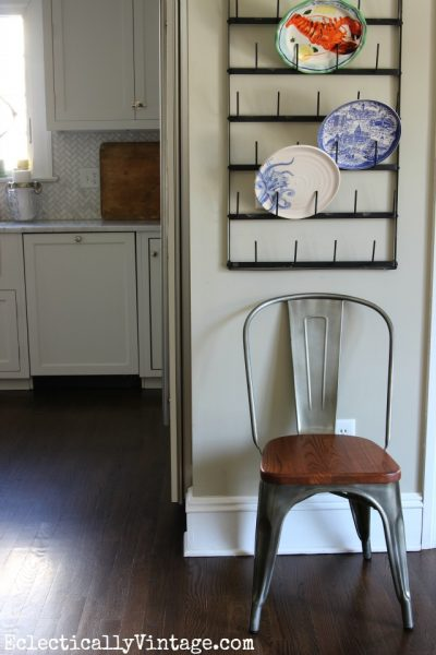 Vintage inspired metal and wood industrial dining chair eclecticallyvintage.com