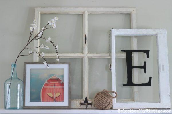 Spring mantel eclecticallyvintage.com