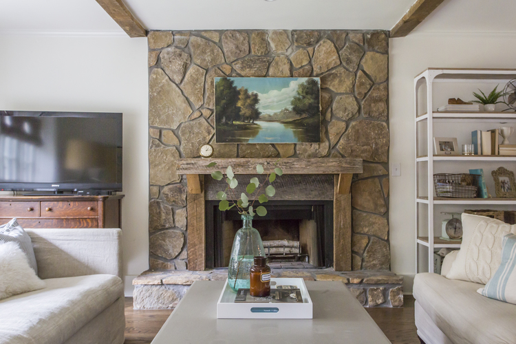 Love this stone fireplace and rustic wood mantel kellyelko.com