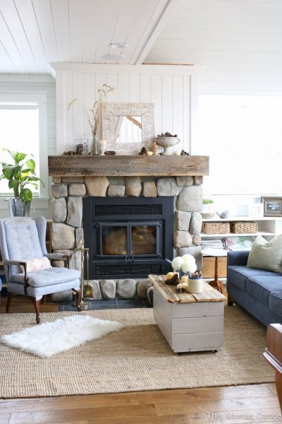 Eclectic Farmhouse Tour - love the stone fireplace eclecticallyvintage.com