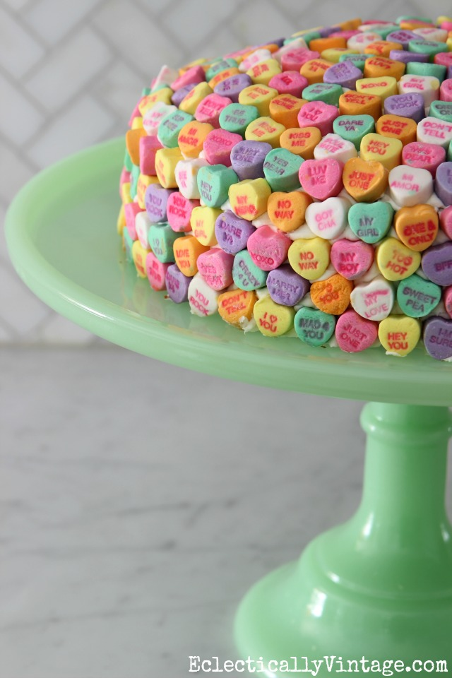 Valentine Conversation Heart Cake - such a cute idea and love the cake stand! kellyelko.com
