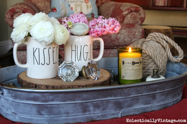 Simple Valentines Day - a fun display of flowers and cute Hugs & Kisses mugs kellyelko.com