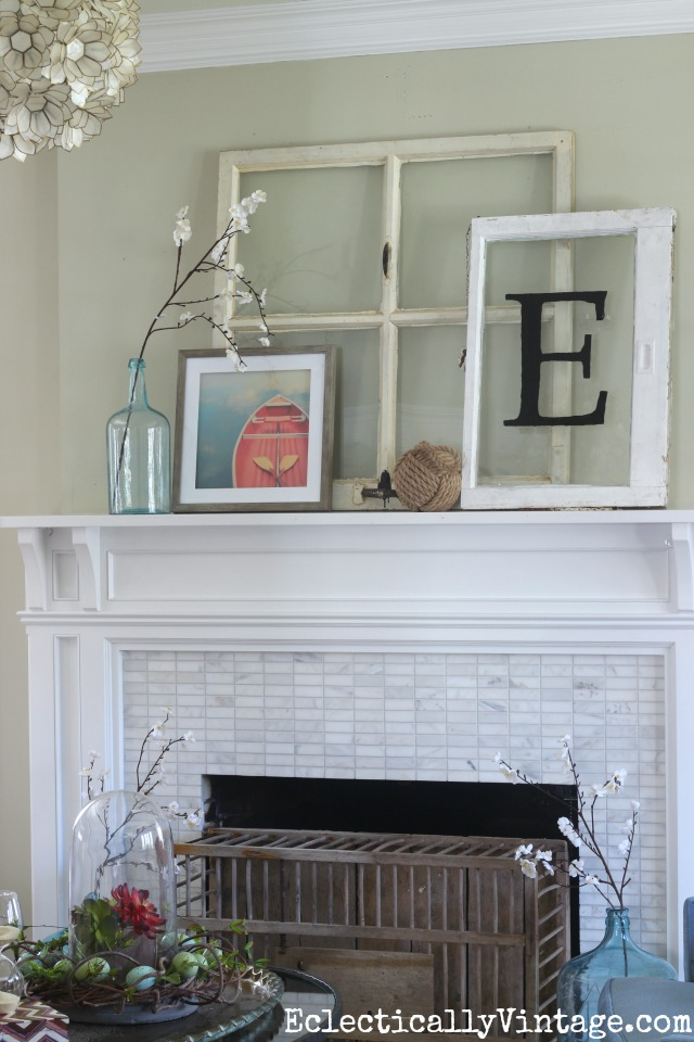 Love the way she propped windows and art on the mantel for a relaxed nautical look kellyelko.com