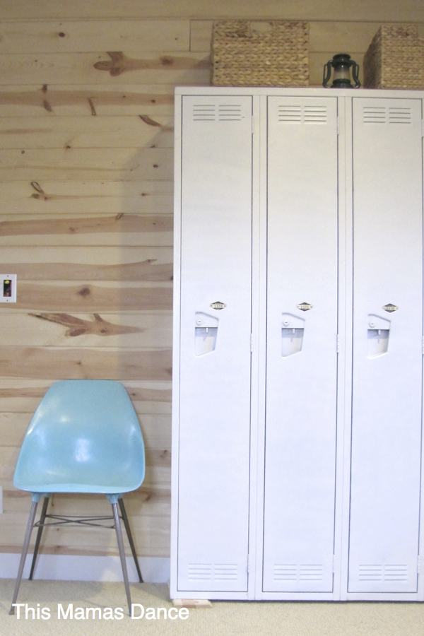 Love this mudroom with knotty pine walls and vintage lockers kellyelko.com