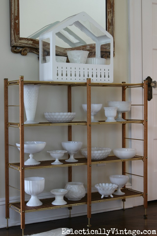 Milk glass collection - looks great when massed together kellyelko.com