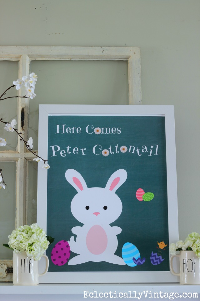 Free Peter Cottontail Printable! Plus 20+ free spring printables eclecticallyvintage.com