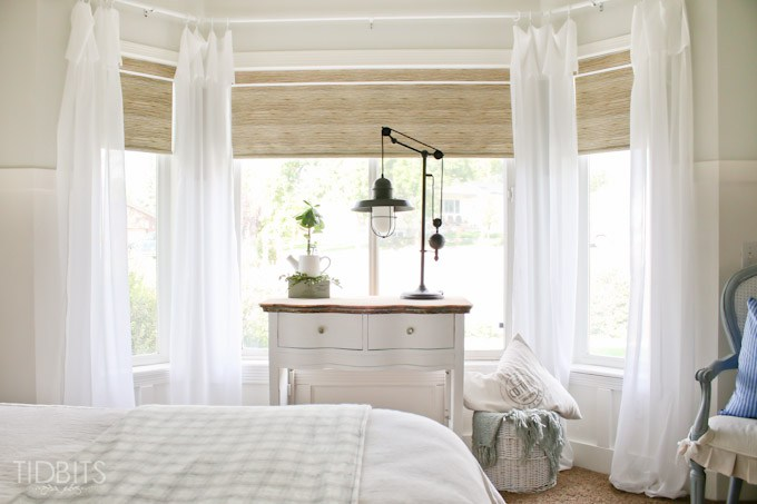 Love this bay window with breezy white curtains kellyelko.com