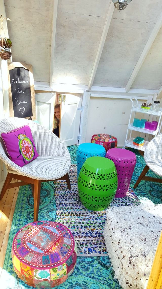 Love the colorful outdoor furniture in this fun treehouse kellyelko.com