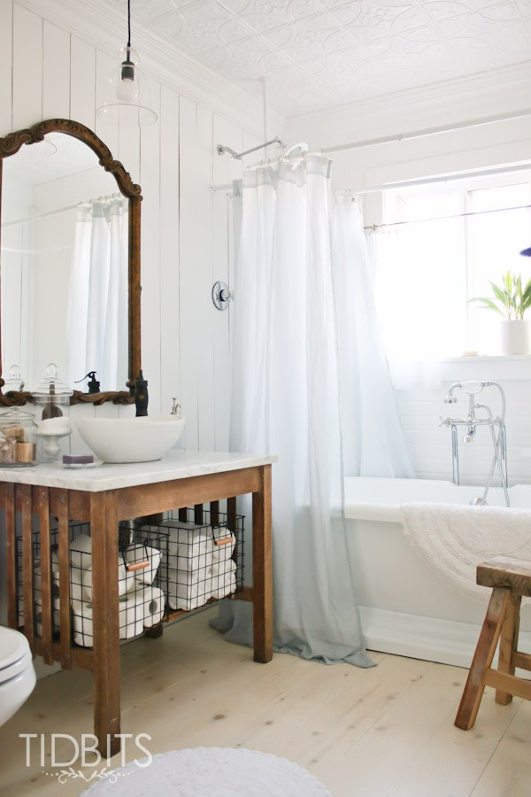 Cottage bathroom renovation - love the vanity and free standing tub kellyelko.com