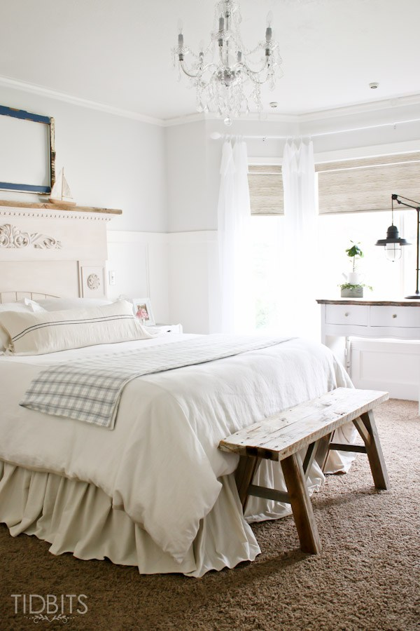 Cottage bedroom - love the rustic wood bench at the end of the bed kellyelko.com