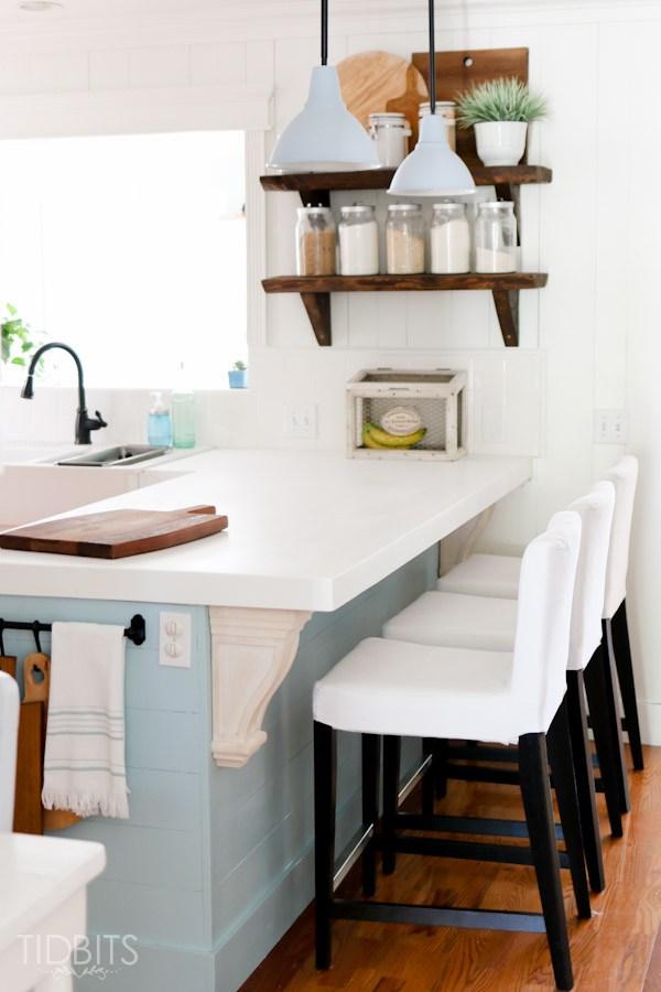charming cottage kitchen - love the rustic wood shelves kellyelko.com