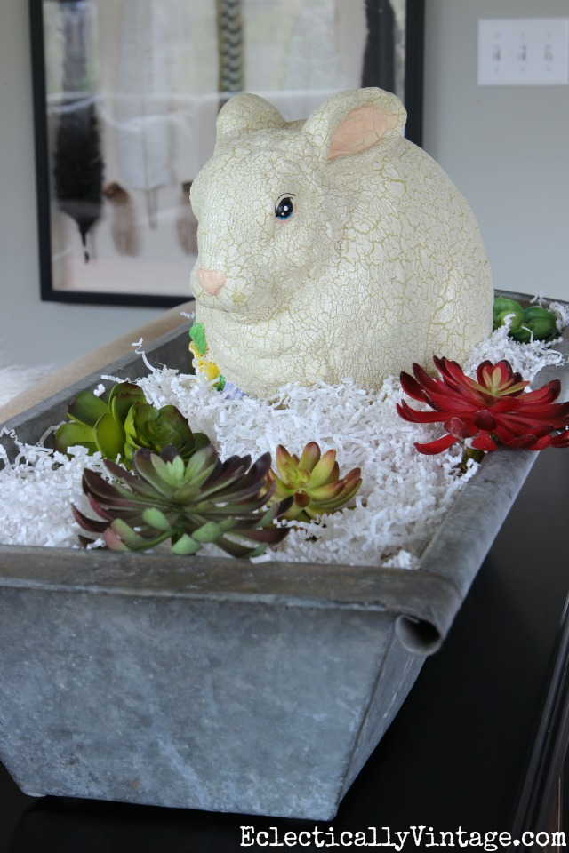 Shredded paper makes a cute nest for succulents and an Easter bunny kellyelko.com