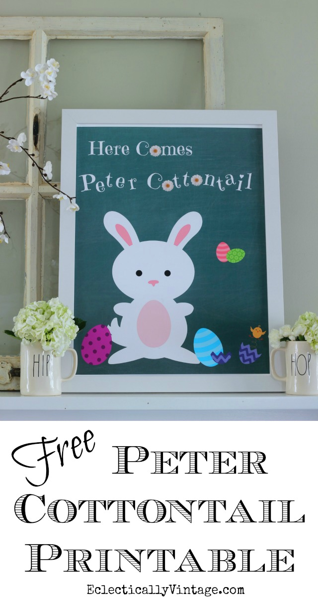 Free Peter Cottontail Printable - this is adorable! Plus get more than 20 more free spring printables eclecticallyvintage.com
