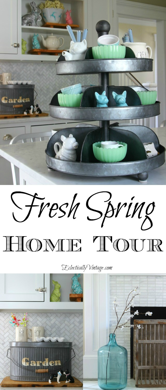 Fresh Spring Home Tour - so many creative decorating and DIY ideas! kellyelko.com