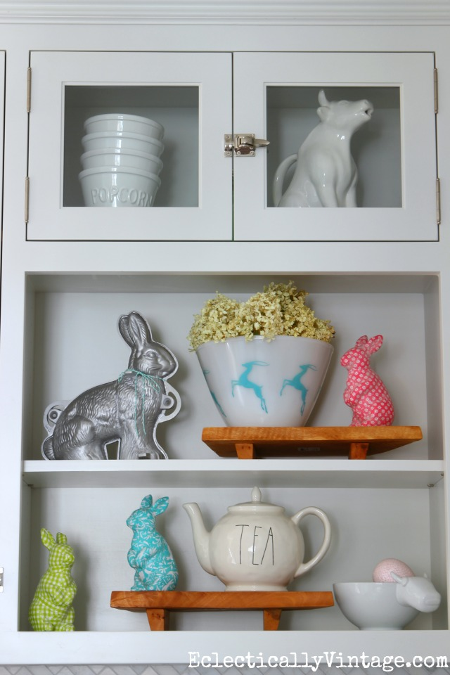 Spring decor - love the colorful bunnies and the vintage gazelle bowl kellyelko.com