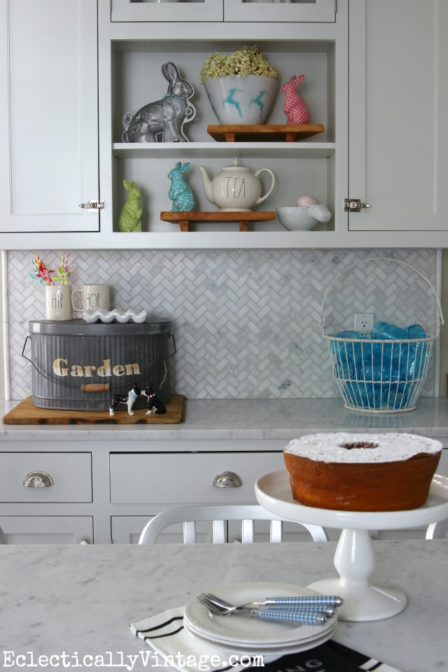 White spring kitchen - lots of fun display ideas and I love the galvanized garden pail kellyelko.com