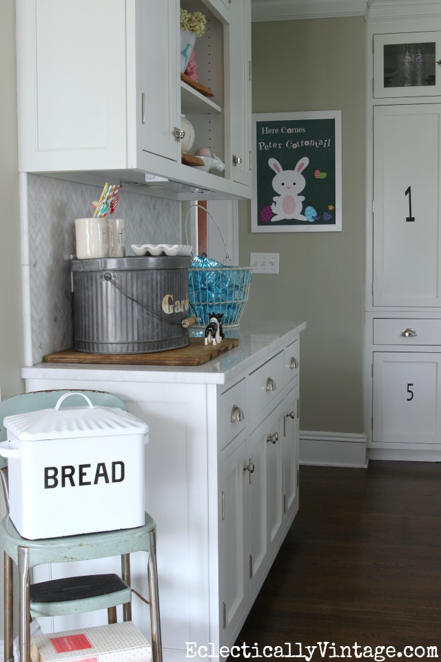 Spring kitchen - love the old step stool with the bread box kellyelko.com
