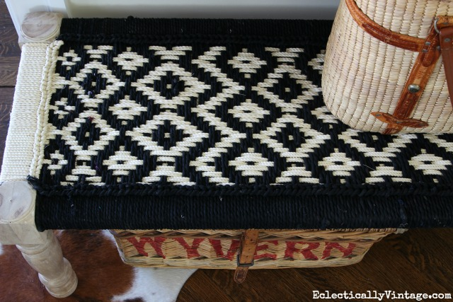 Woven fabric bench - love the pattern in black and white kellyelko.com