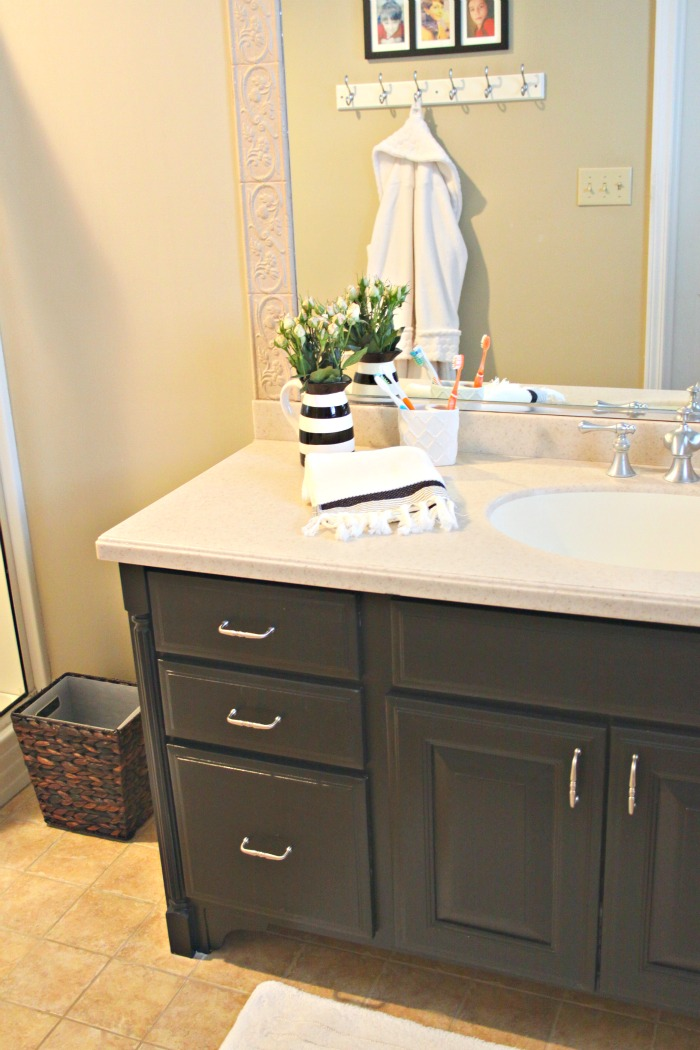 Black bathroom vanity eclecticallyvintage.com