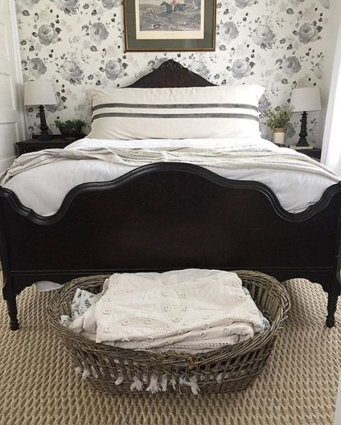 Eclectic Home Tour - love this black and white bedroom with floral wallpaper eclecticallyvintage.com