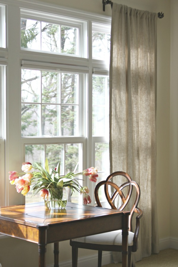 Burlap curtains - such a beautiful light filled room eclecticallyvintage.com