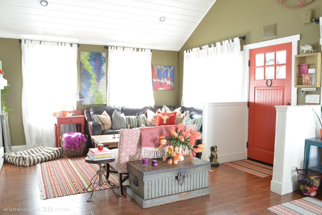 Colorful home tour - love the bold red front door color kellyelko.com