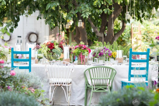 Farm house garden party - love the mismatched chairs kellyelko.com