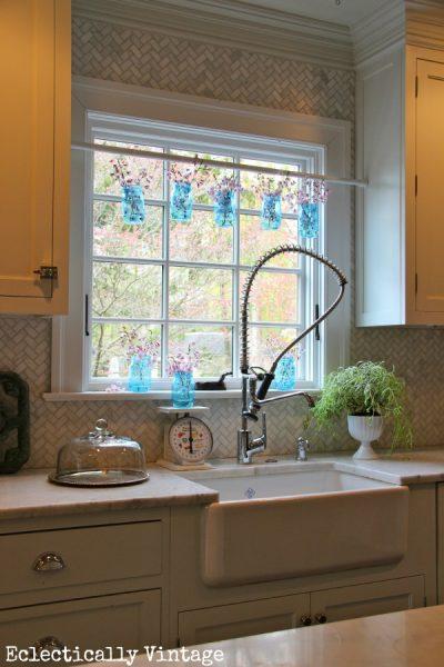Mason Jar Window Treatment eclecticallyvintage.com