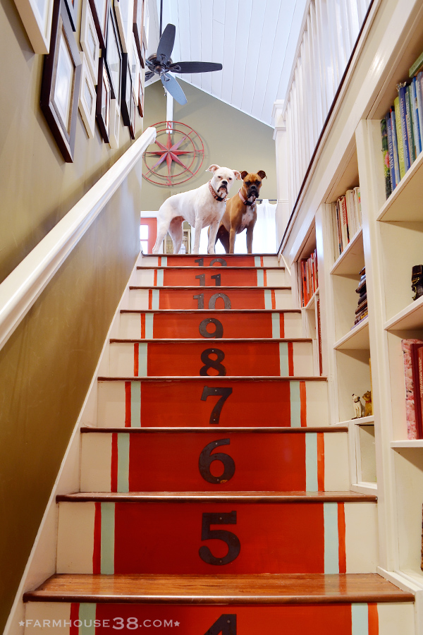 Love these fun painted and numbered stair runner kellyelko.com
