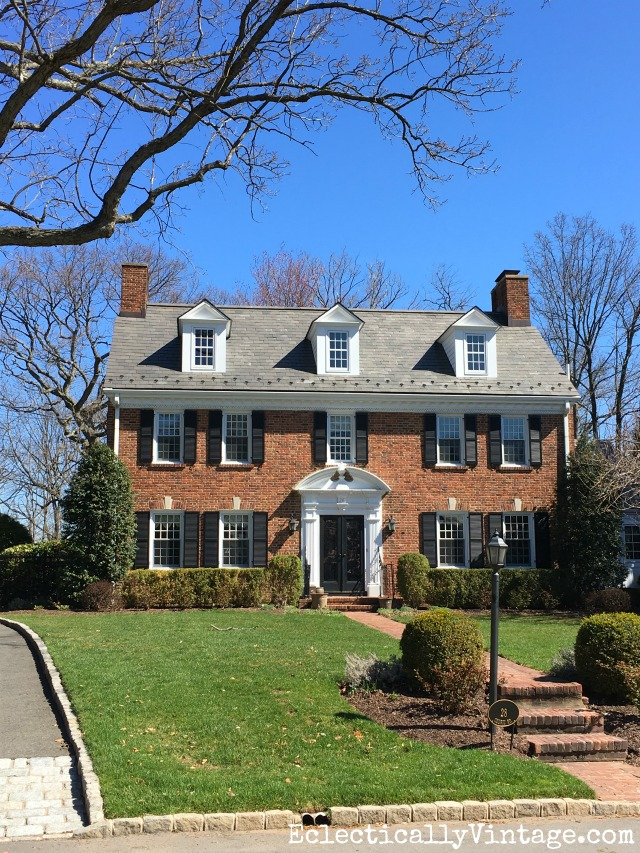 Curb Appeal - love this old brick house with double chimneys and dormers kellyelko.com