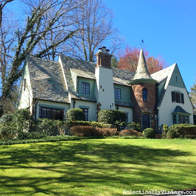 Curb Appeal - love this charming old Tudor and the turret and sloped roofline kellyelko.com