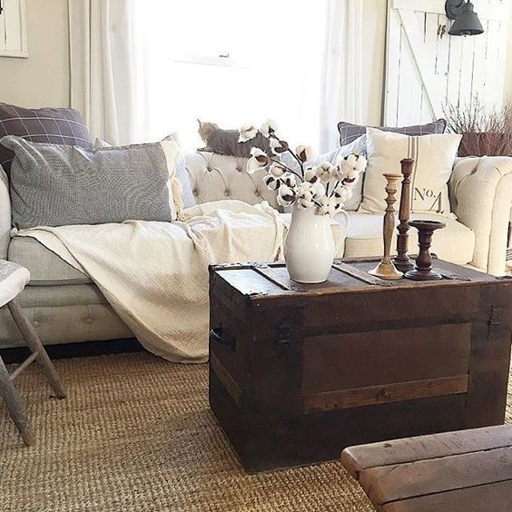 Love this cozy family room with tufted sofa and antique trunk coffee table kellyelko.com