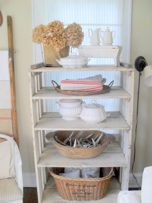 Collecting ironstone - love this shelf display with baskets kellyelko.com