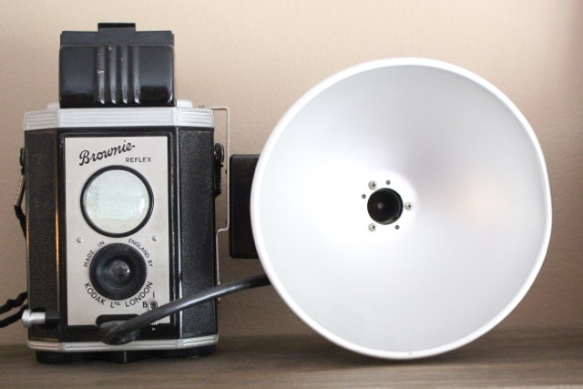 Vintage Brownie camera - great ideas for decorating with old cameras kellyelko.com