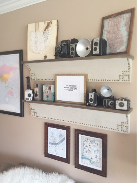 Vintage camera collection - love the way she displays them with old maps kellyelko.com