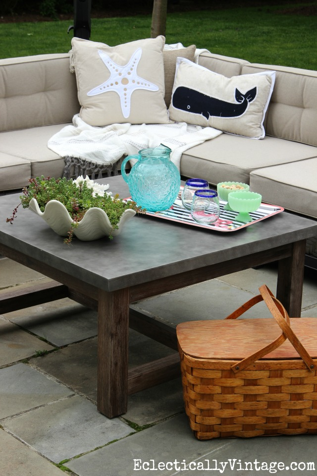Spectacular Love this huge concrete top outdoor coffee table and the sectional sofa with coastal pillows kellyelko