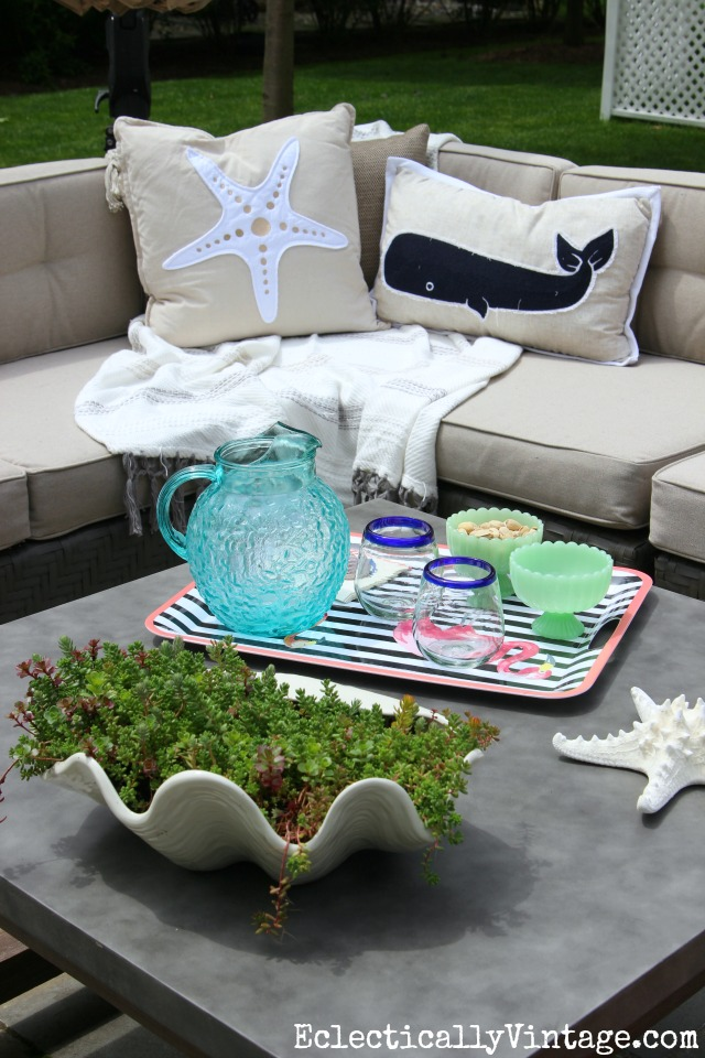 Love this outdoor sectional sofa and concrete coffee table kellyelko.com