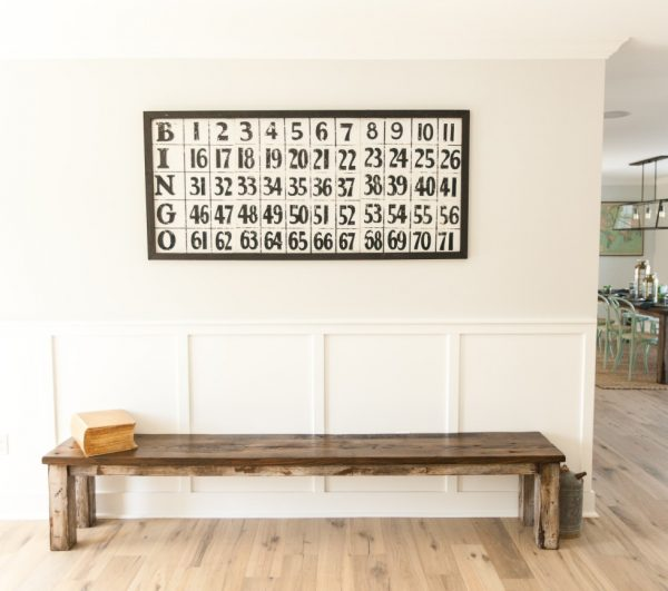 Simple foyer with huge bench and bingo art kellyelko.com