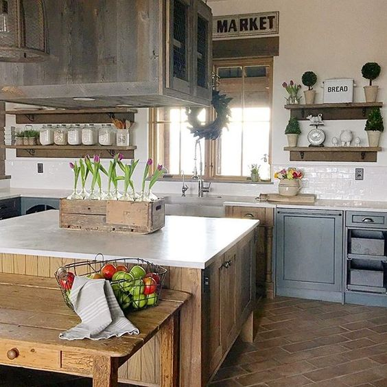 Love the mix of wood, tile and painted cabinets in this rustic farmhouse kitchen kellyelko.com