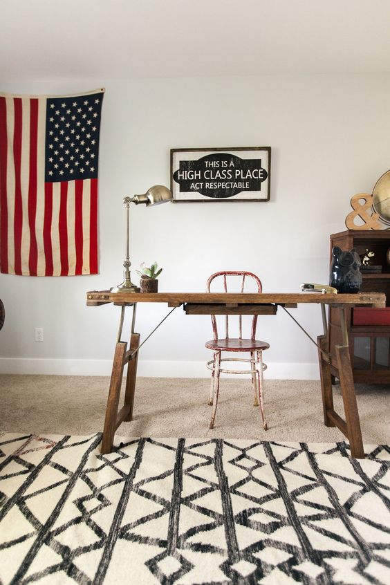 Fun home office - love the flag hung as art kellyelko.com