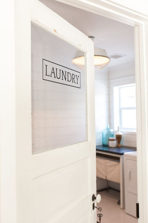 love this glass laundry room door kellyelko.com