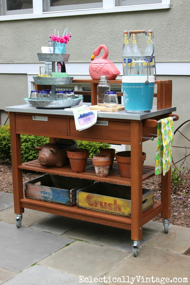 Outdoor bar cart is perfect for entertaining kellyelko.com