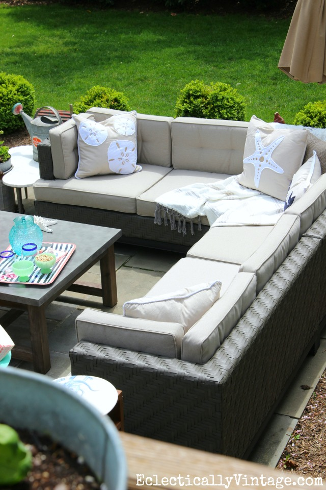 Cozy outdoor sectional sofa - love the coastal pillows kellyelko.com