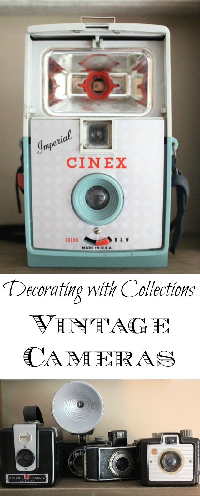 Decorating with Vintage Cameras kellyelko.com