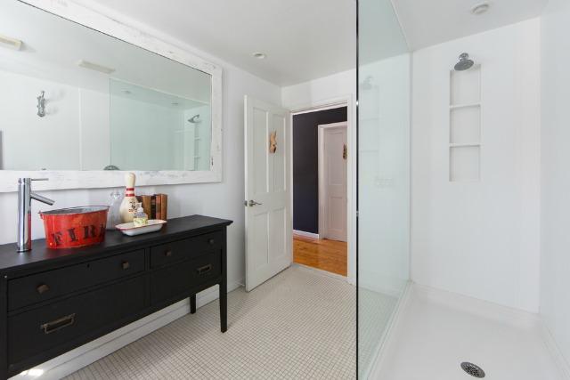 Love this white bathroom with dark wood vanity and fun bucket sink kellyelko.com
