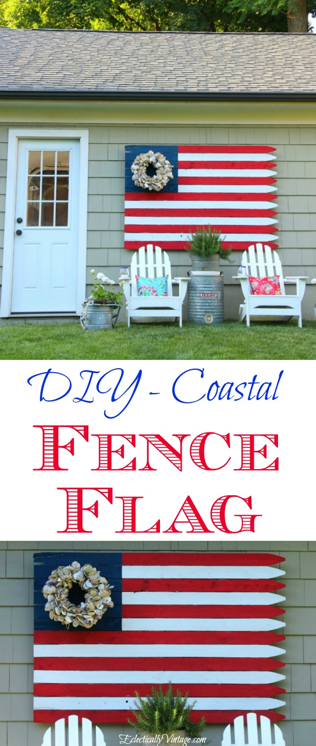 DIY Fence Flag - love the oyster shell wreath instead of stars! kellyelko.com