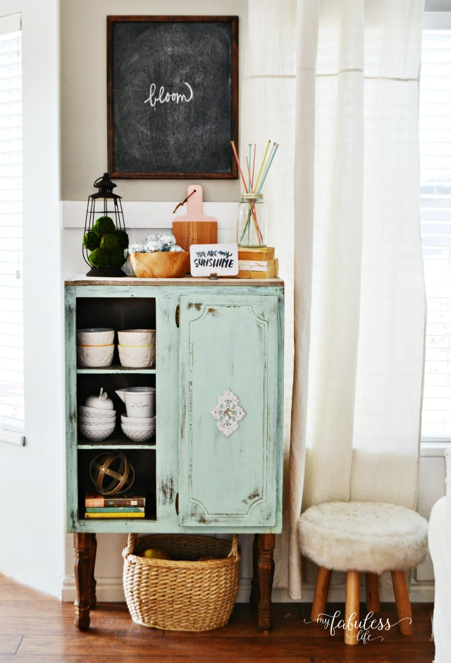 Vintage cabinet shows off kitchen essentials kellyelko.com