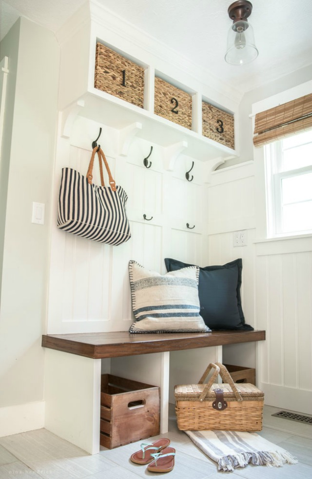 Small mudroom with built in cubbies kellyelko.com