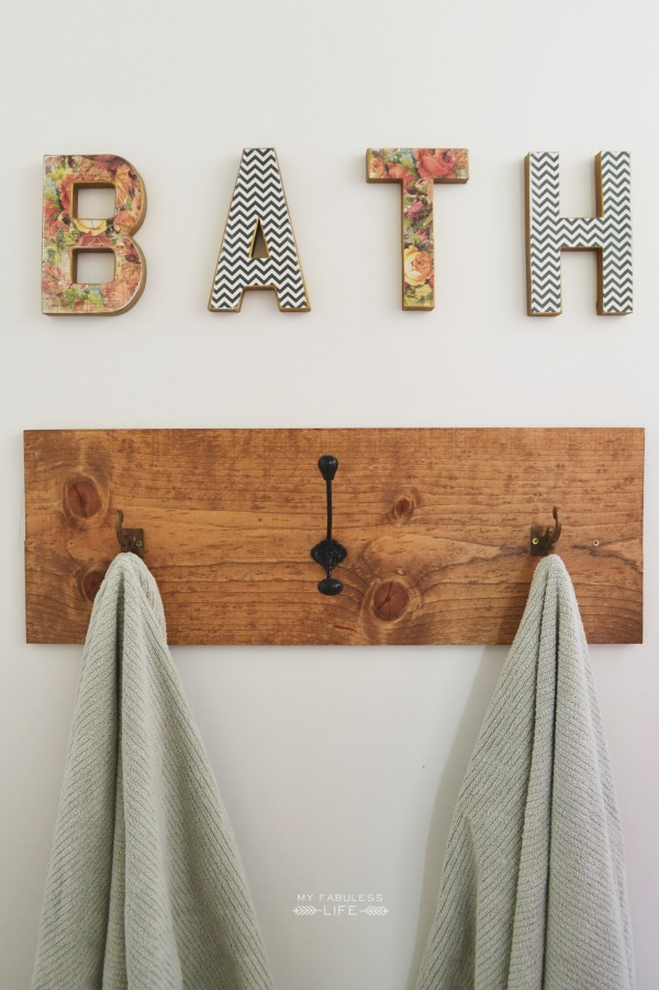 DIY rustic wood towel hook - love the bath sign too kellyelko.com